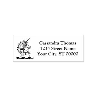 Heraldic Unicorn Head Coat of Arms Emblem Rubber Stamp