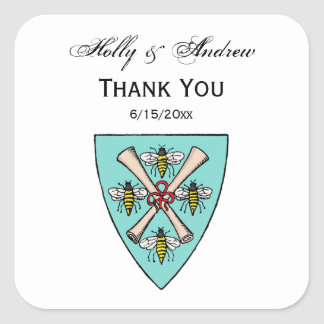 Heraldic Vintage 4 Bees Scrolls on Shield Crest TB Square Sticker