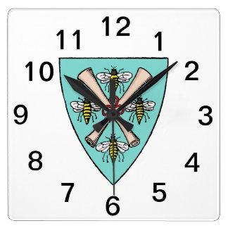 Heraldic Vintage 4 Bees Scrolls on Shield Crest TB Square Wall Clock