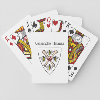 Heraldic Vintage 4 Bees Scrolls on Shield Crest Wt Playing Cards