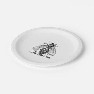 Heraldic Vintage Bee Coat of Arms Emblem 7 Inch Paper Plate
