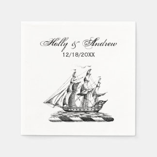 Heraldic Vintage Nautical Clipper Ship Crest Paper Napkin