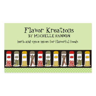 Herb and spice bottles cooking culinary biz cards pack of standard business cards
