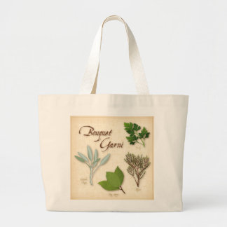 Herb Bouquet, Recipe, Bay, Thyme, Sage, Parsley Large Tote Bag