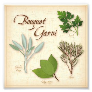 Herb Bouquet, Recipe, Bay, Thyme, Sage, Parsley Photo Print