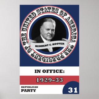 Herbert C. Hoover Presidential History Retro Poster