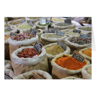 Herbs and spices at a french market card