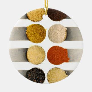Herbs Spices & Powdered Ingredients Round Ceramic Decoration