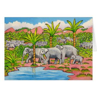 Herd of Elephants Greeting Card