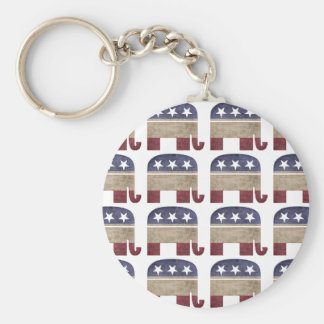 Herd of Elephants, Republican Basic Round Button Key Ring