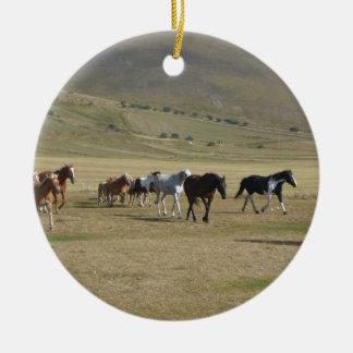 Herd of Horses Ceramic Ornament