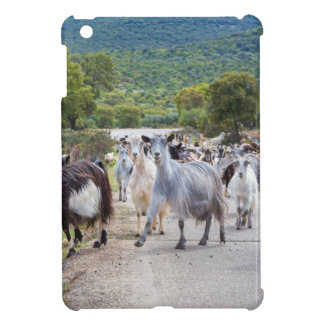 Herd of mountain goats walking on road iPad mini cases