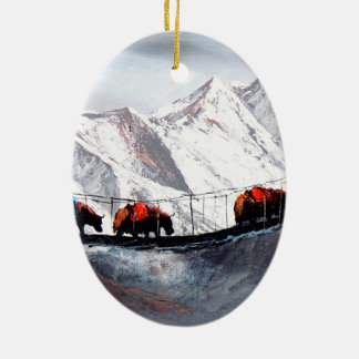 Herd Of Mountain Yaks Himalaya Ceramic Oval Decoration