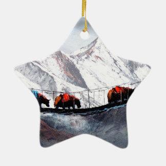 Herd Of Mountain Yaks Himalaya Ceramic Star Decoration