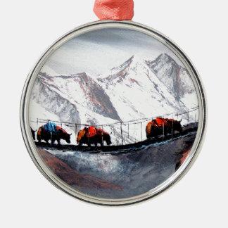 Herd Of Mountain Yaks Himalaya Metal Ornament