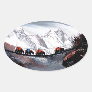 Herd Of Mountain Yaks Himalaya Oval Sticker