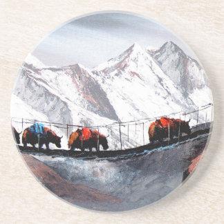 Herd Of Mountain Yaks Himalaya Sandstone Coaster