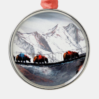 Herd Of Mountain Yaks Himalaya Silver-Colored Round Decoration