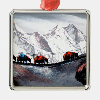 Herd Of Mountain Yaks Himalaya Silver-Colored Square Decoration