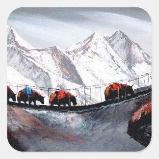 Herd Of Mountain Yaks Himalaya Square Sticker