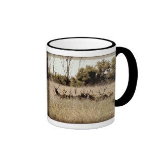 Herd of Young Bull Elk Ringer Coffee Mug
