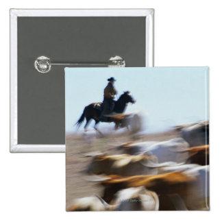 Herding Cattle 15 Cm Square Badge
