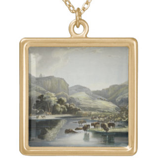 Herds of Bison and Elk on the Upper Missouri, plat Gold Plated Necklace