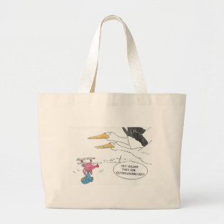 Here Comes Baby Large Tote Bag