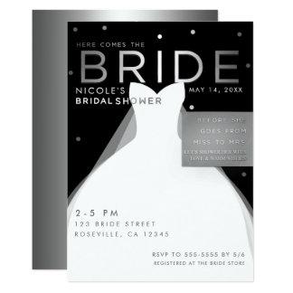 Here comes BRIDE Black Silver White Bridal Shower Card