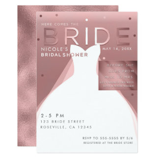Here comes BRIDE Rose Gold Glam Chic Bridal Shower Card