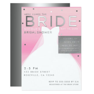 Here comes BRIDE Silver & Pink Chic Bridal Shower Card