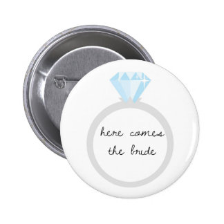 Here Comes the Bride Diamond Ring 6 Cm Round Badge
