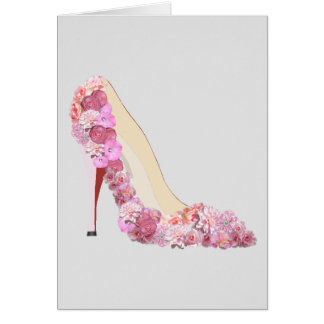Here Comes The Bride Floral Heels Note Cards