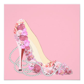 Here Comes The Bride Floral Heels Party Invitation