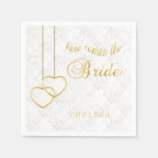 Here Comes the Bride  - Gold Metal Hearts Paper Napkin