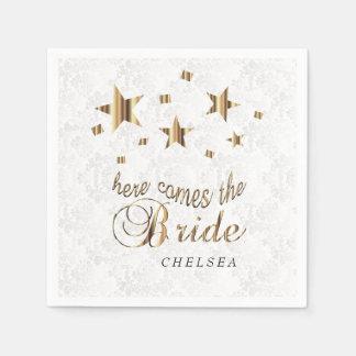 Here Comes the Bride  - Gold Stars Disposable Serviettes
