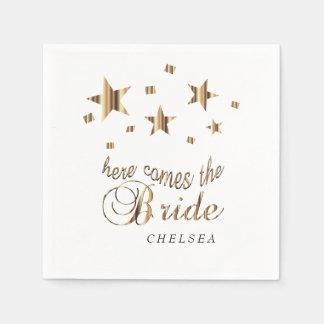 Here Comes the Bride  - Gold Stars Paper Napkin