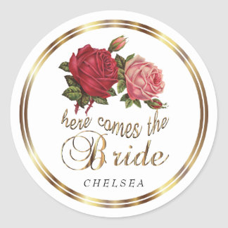 Here Comes the Bride  - Roses 2 Classic Round Sticker