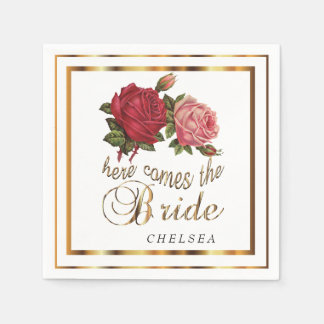 Here Comes the Bride  - Roses Paper Serviettes
