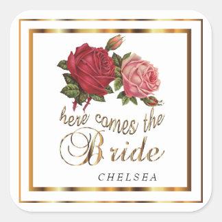 Here Comes the Bride  - Roses Square Sticker