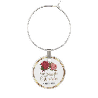 Here Comes the Bride  - Roses Wine Charm