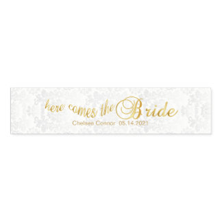 Here Comes the Bride - White Damask & Gold Napkin Band