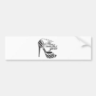 Here Comes the girls_SHOE.ai Bumper Sticker