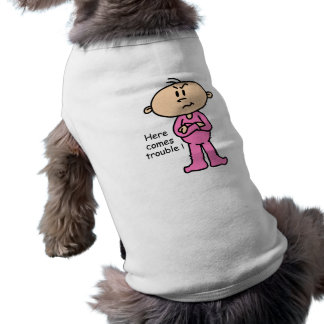 Here Comes Trouble Baby (PINK) Sleeveless Dog Shirt