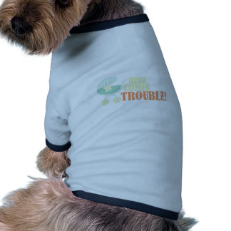 Here Comes Trouble Ringer Dog Shirt