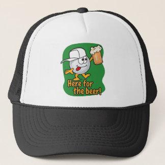 Here For The Beer Cartoon Golfer Trucker Hat