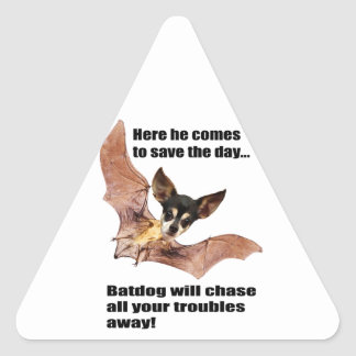 Here he comes to save the day batdog triangle sticker