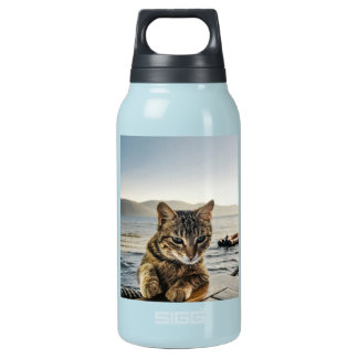 """""""Here I am"""" says the Cat Insulated Water Bottle"""