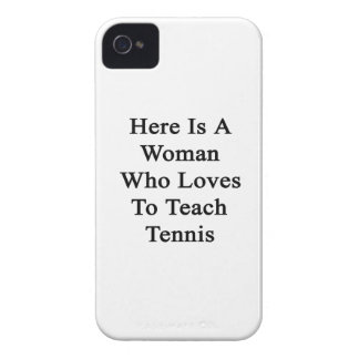 Here Is A Woman Who Loves To Teach Tennis iPhone 4 Case-Mate Case
