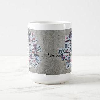 here joker- beige mah jongg mug- ribbon tiles basic white mug